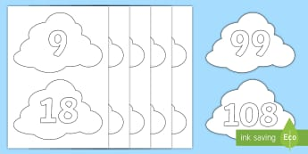 Counting in 9s on Clouds Cut-Outs - Counting in 9s, Clouds, 9 times table, Counting, Numberline, Number line, Counting on, Counting back