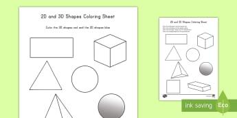 2D and 3D Shapes Coloring Activity - color, coloring, activity, shapes, 2D, 3D