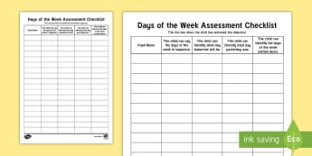 Days of the Week Assessment Checklist - Back to School, Junior Infants, week, sequencing, time, date, day,Irish