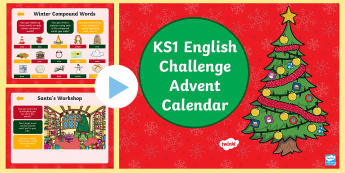 KS1 Advent Calendar English Challenge PowerPoint - spag, comprehension, writing, morning starter, year 1, year 2