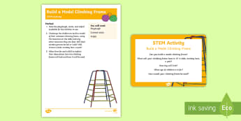 Build a Model Climbing Frame STEM Activity and Prompt Card Pack - garden, playgrounds, play park, science, technology, engineering, maths, building
