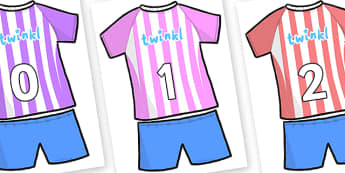 Numbers 0-100 on Football Strip - 0-100, foundation stage numeracy, Number recognition, Number flashcards, counting, number frieze, Display numbers, number posters