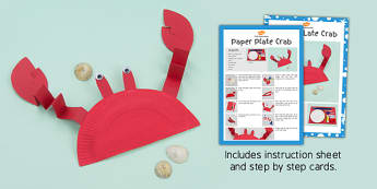Paper Plate Crab Craft Instructions (Under the Sea) - paper, plat, crab, craft