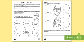 Making Excuses Activity Sheet - young people,  PSHCE, behaviour, classroom management, transition, anger, worksheet