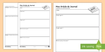 French Newspaper Article Planning and Writing Template - KS3, French, Structured, Creative, Writing, Newspaper, journal, News, French