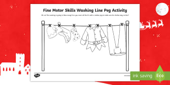 Christmas Themed Fine Motor Skills Washing Line Peg Activity  - Fine Motor Skills Washing Line Peg Activity - fine motor skills, christmas, santa, elves, washing li