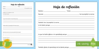 Ficha de actividad: Hoja de reflexión - trabajo cooperativo, reflexión, castigo, malas acciones, mal comportamiento, ,Spanish