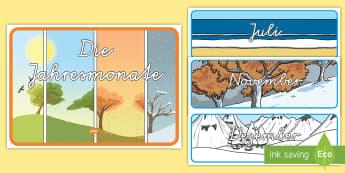 Jahresmonate Wortschatz: Karten - Jahresmonate, april, marz, dezember, november, februar