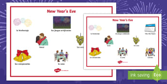 New Year's Eve Key Vocabulary Word Mat Spanish - spelling, writing, help, reading, new, year