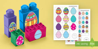 Easter Egg Patterns Matching Connecting Bricks Game - EYFS, Early Years, KS1, Connecting Bricks Resources, duplo, lego, plastic bricks, building bricks, E