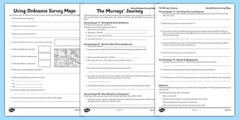 Using Ordnance Survey Maps Worksheet / Activity Sheet Pack - The Desperate Journey - using ordnance, survey maps, activity, sheets, worksheet