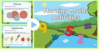 Morning Maths Activities PowerPoint - morning, maths, activities