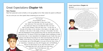 Chapter 44 Pip's Passion Activity Sheet to Support Teaching on Great Expectations by Charles Dickens - Charles Dickens, Great Expectations, Pip, Estella, Miss Havisham, Satis House, character evaluation,
