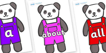 100 High Frequency Words on Panda Bears - High frequency words, hfw, DfES Letters and Sounds, Letters and Sounds, display words