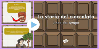 La storia del cioccolato Presentazione Powerpoint - storia, storico, linea, temporale, cioccolata, materiale, scolastico, italiano, italian