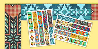 Native American Pattern Display Borders - Native Americans Primary Resources, America, Americans, native american indians, tipi, dreemcachr step by step instcshons, canoe, dream catcher, display, aids, Early Years (EYFS), KS1 & KS2 Primary Teaching R