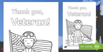 Veterans Day Thank You Coloring Page - Veteran, Veterans, Military, Hero, Army, Navy, Marines, Air Force, Coast Guard, National Guard