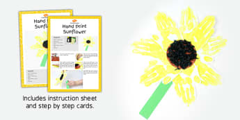 Hand Print Sunflowers Craft Instructions - spring, activity