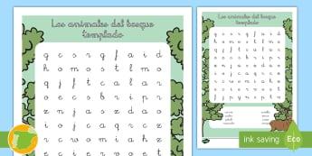 Sopa de letras: Los animales del bosque templado - animales, donde viven, hábitats, clasificación, grupos, Spanish