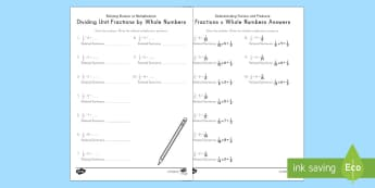 Relating Division of Fractions to Multiplication Activity Sheet - division, multiplication, relating multiplication and division, worksheet, fractions, unit fractions