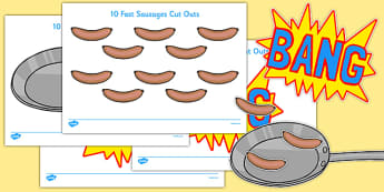 10 Fat Sausages Cut Outs - Number rhyme, subtraction, cut out, fine motor skills, sausage, sausages, pop, bang, nursery rhyme, numeracy, numbers, counting, foundation stage numeracy