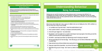 Understanding Behaviour: Being Self-Aware Adult Guidance - Behaviour, SEN, Functions of Behaviour, adult guidance, self help