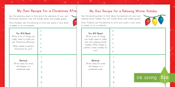 A Recipe for Winter Own Poem Worksheet / Activity Sheets - winter, Christmas, writing, frame, poem, worksheets, poetry, december, january, rhyme, list