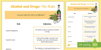 CfE (Second) Alcohol and Drugs: The Risks Activity Sheet - alcohol, drinking, drugs, substance, misuse, illegal, risks, health,Scottish, Worksheet