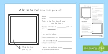 A Letter To Myself Writing Activity English/Spanish (Latin) - A Letter To Myself Writing Activity - letters, ourselves, write, oursleves, leters, lettes, ourselvs