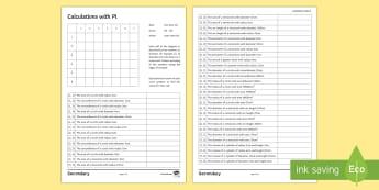 Pi Day Mosaic Activity Sheet - pi, area, circumference, circle, semi-circle, worksheet, colouring, calculate, given