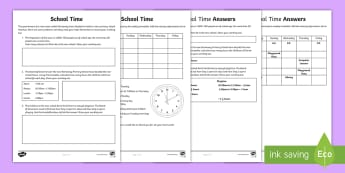 School Time Problem Solving Activity Sheet - ACMMG086, hours, minutes, days, seconds, timetable, word problem, worksheet