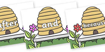 Connectives on Beehives - Connectives, VCOP, connective resources, connectives display words, connective displays