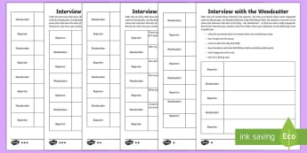 Interview with the Woodcutter Writing Template - Little Red Riding Hood, Big Bad Wolf, Woodcutter, interview, reporter, creative writing, activity sh