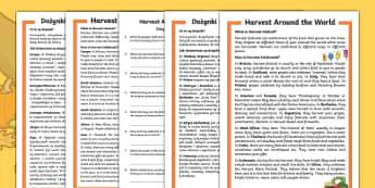 Harvest around the world differentiated reading comprehension activity Polish Translation-Polish-translation