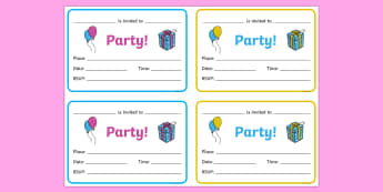 Birthday Party Invitations - Birthdays, birthday party, party invitation, invitations, party food, cake, balloons, happy birthday, birthday role play