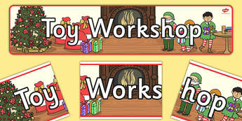 Toy Workshop Display Banner - display, banner, banners, display banner, classroom banner, toy shop banner, toy shop, santas toyshop alternative, elves and the shoemaker, christmas toy shop