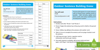 Outdoor Spelling and Grammar Partner Game - CfE Outdoor Learning, nature, forest, woodland, playground, literacy, spelling, grammar, punctuation