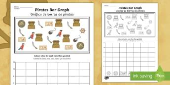 * NEW * Pirates Bar Graph Activity Sheet - English / Spanish - Pirates Bar Graph - pirates, bar graph, bar, graph, activity, pirtaes, prirate, activity sheet,works