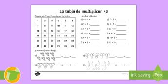 Ficha de actividad: La tabla de multiplicar x3 - tabla de multiplicar, múltiplos, ficha, mates, matemáticas, x3, por tres, multiplicar, multiplicac