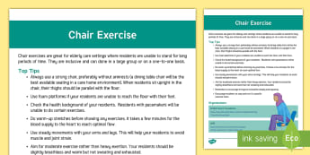 Chair Exercise Guide - Exercise, Chair Exercise, Wellness, Ideas, Support, Elderly Care, Care Homes, Activity Coordinators