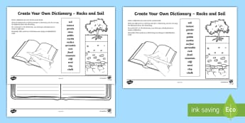 Rocks and Soil Create Your Own Dictionary Activity - Literacy, English, Sciences, Earth's materials, writing, alphabetical order, define, definition, cr