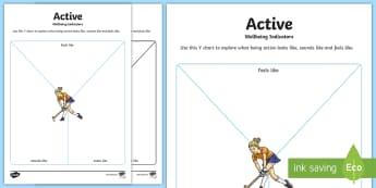 CfE Wellbeing Indicators Active Y Chart Activity Sheet - CfE Health and Wellbeing Resources, GIRFEC, SHANARRI,Scottish