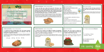 UKS2 Fractions and Decimals Word Problems Christmas Maths Challenge Cards English/Romanian - EAL, Christmas Maths KS2, Y5, Year 5, Y6, Year 6, fractions, decimals, word problems