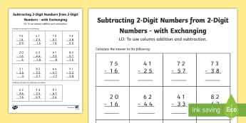 Year 3 Subtracting 2 Digit Numbers from 2 Digit Numbers in a Column with Exchanging Worksheet / Activity Sheet - Subtracting 2 Digit and 3 Digit Numbers, subtract, formal written method, exchanging, carrying, Colu