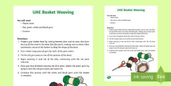 Basket Weaving Craft Activity - Emirati weaving, UAE culture, UAE heritage, UAE date palm, al khous