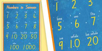 Numbers in Samoan Display Posters - nz, new zealand, samoa, Samoan language week, display, numbers