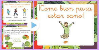 Comer y vivir sano   EI Presentación - comer, dieta, alimentación, saludable, sano, equilibrado, Spanish