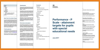 P Scales: Attainment Targets for Pupils with SEN Adult Guidance - special educational  needs, assessment, attainment, monitoring, primary