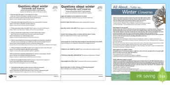 Winter Differentiated Comprehension Activity Sheet English/Italian - Winter Comprehension Differentiated Worksheets - winter, reading, comprehension questions, answers,