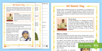 All Saints' Day Differentiated Reading Comprehension Activity - Catholic, patron Saints, Events, Religion, holy days,Scottish